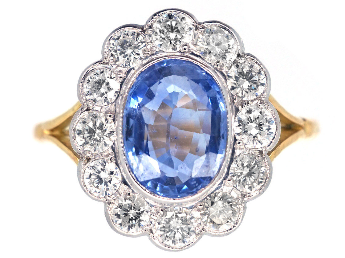 18ct Gold Amp Platinum Ceylon Sapphire Amp Diamond Cluster