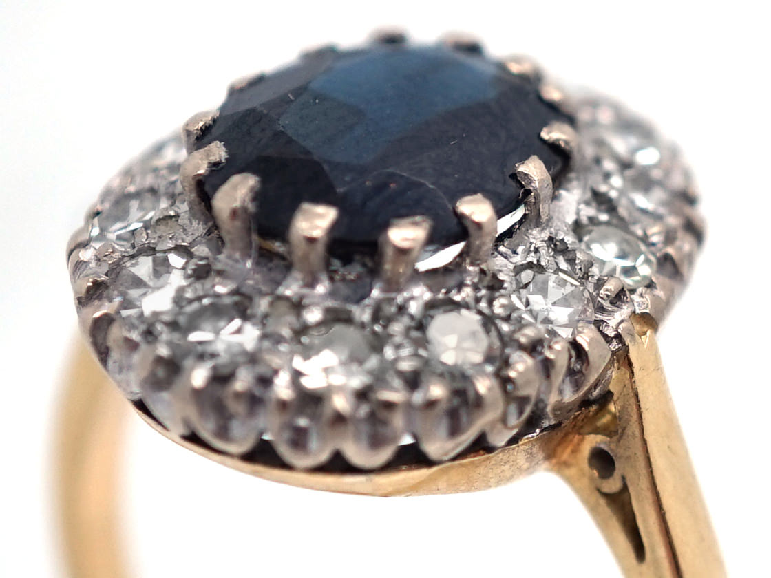 18ct Gold Sapphire Amp Diamond Cluster Ring The Antique