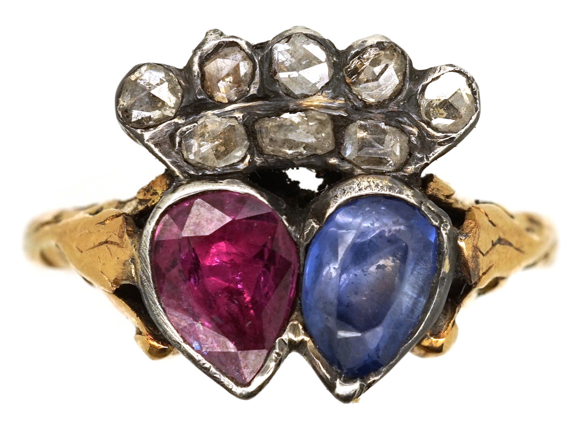 Georgian Ruby Amp Sapphire Double Heart Ring With Diamond