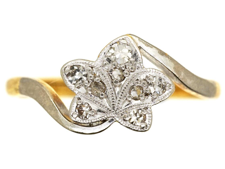 Edwardian 18ct Gold Amp Platinum Diamond Set Ivy Leaf Ring
