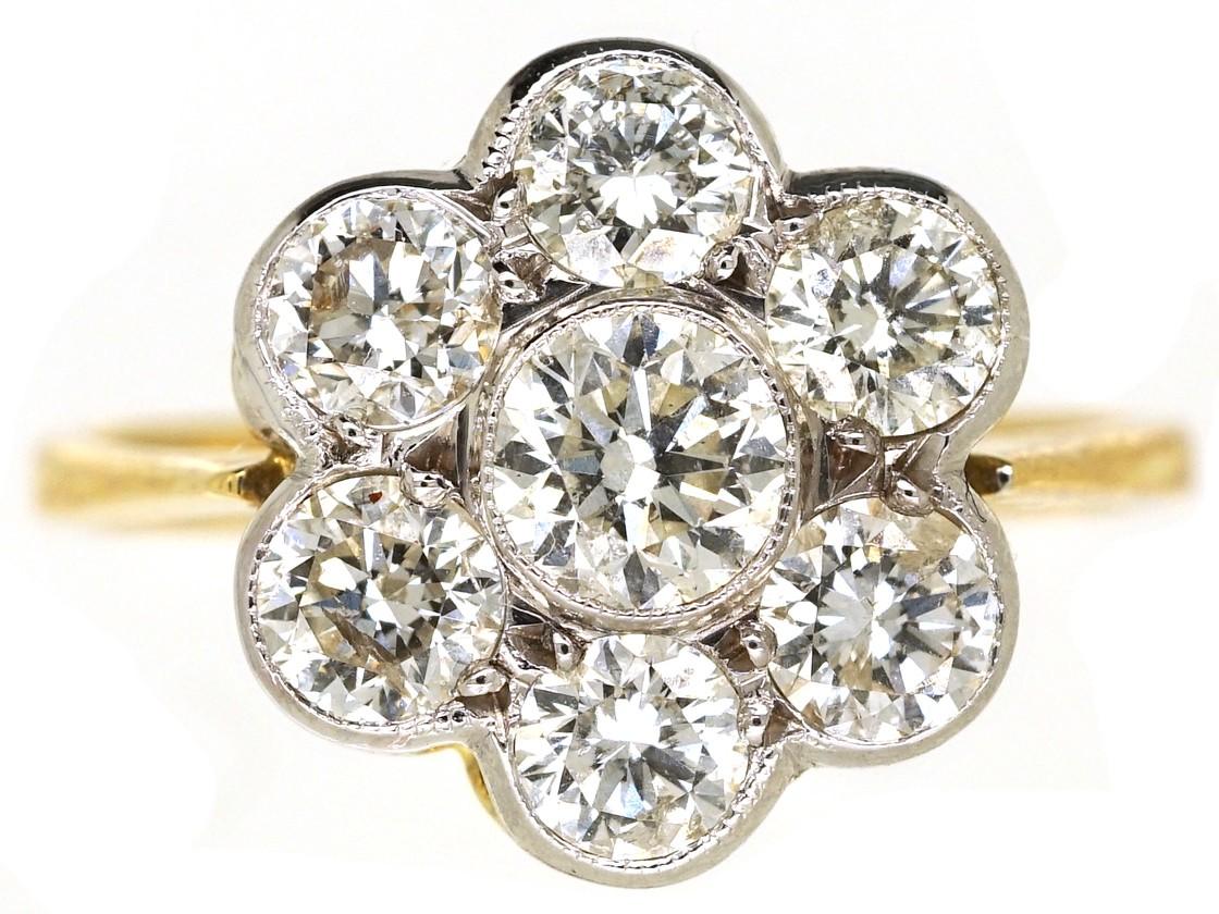Austrian 14ct White Gold Diamond Cluster Ring The