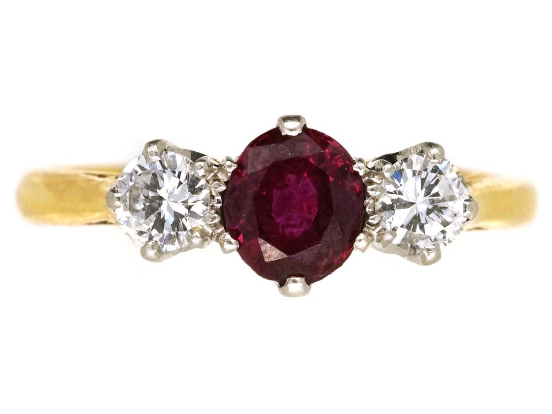 Ruby Amp Diamond Three Stone Ring The Antique Jewellery