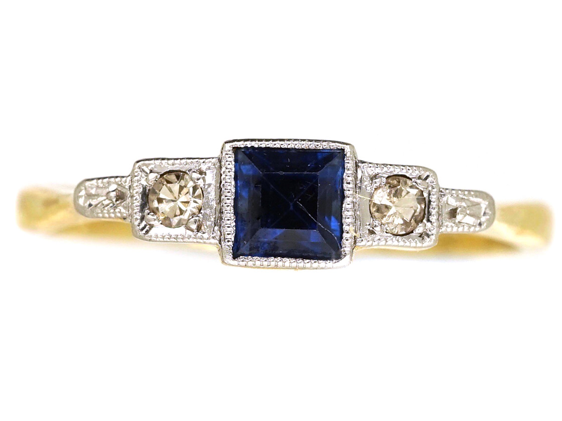 Art Deco Diamond Amp Square Cut Sapphire Ring The Antique
