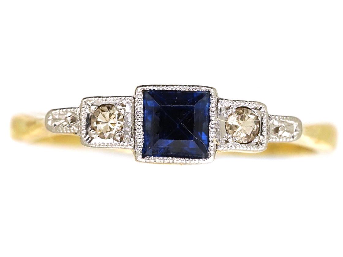 Art Deco Diamond Amp Square Cut Sapphire Ring The Antique