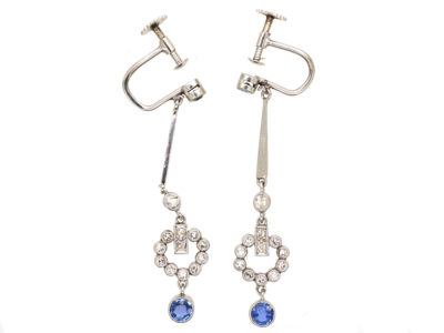 Art Deco Diamond & Sapphire Drop Earrings in Original Case