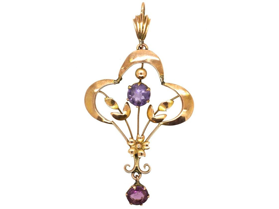 Gold Chains For Sale >> Art Nouveau 9ct Gold & Amethyst Pendant - The Antique ...