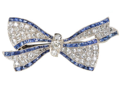 Art Deco Platinum, Sapphire & Diamond Bow Brooch