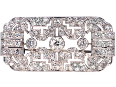 Art Deco Rectangular Platinum & Diamond Brooch