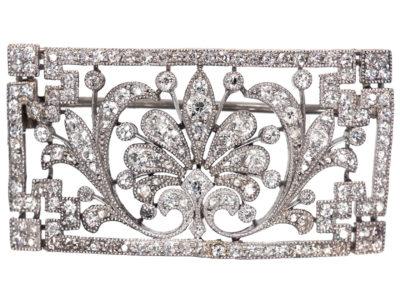 Edwardian Platinum & Diamond Rectangular Brooch