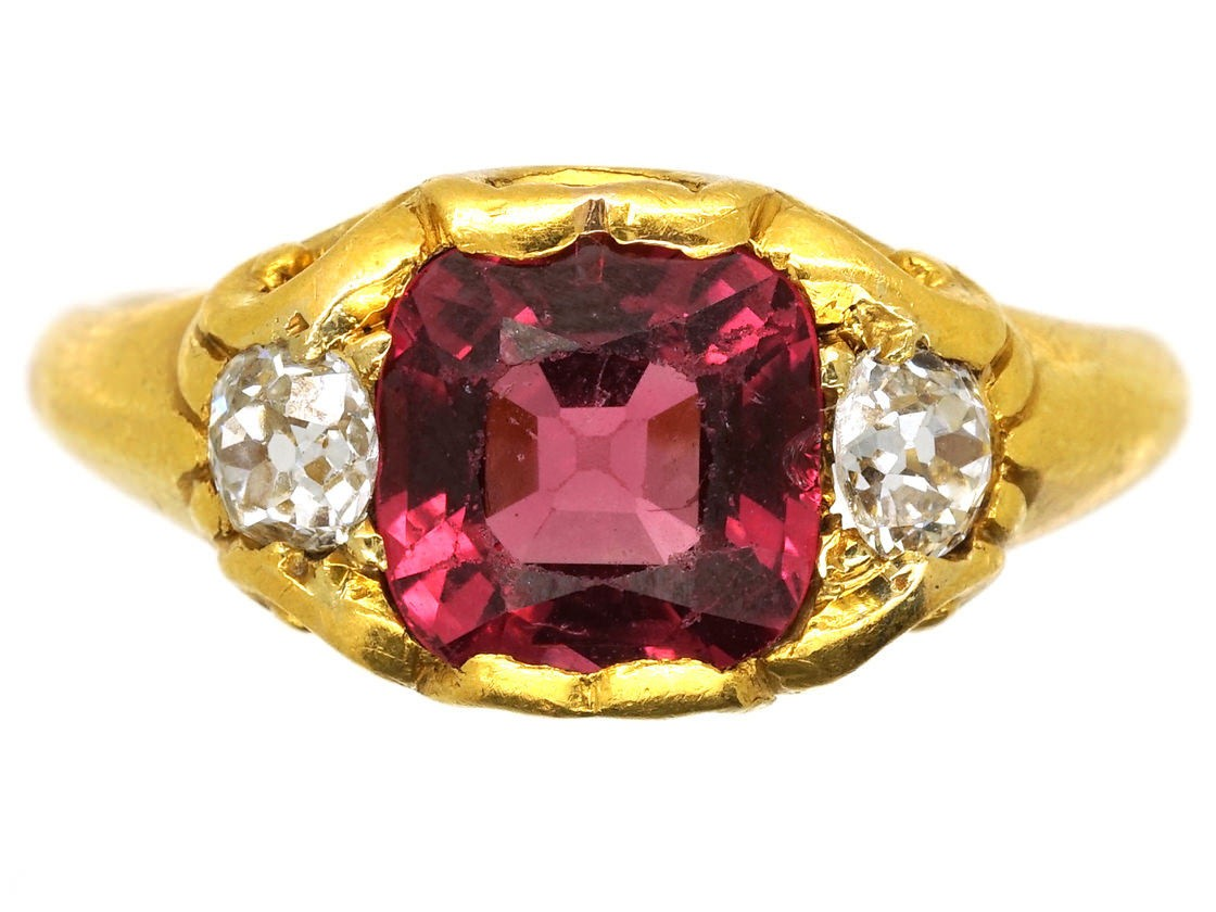 Victorian Natural Pink Spinel Amp Diamond Ring The Antique