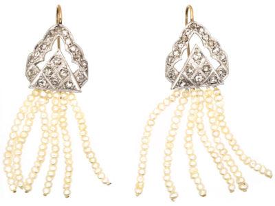 Edwardian Rose Diamond & Seed Pearl Drop Earrings