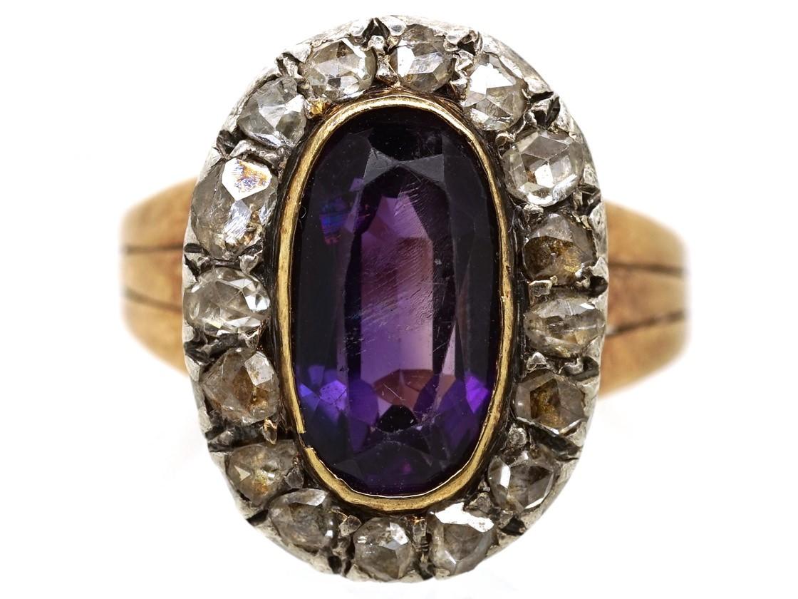 Georgian Oval Amethyst Amp Rose Diamond Ring The Antique