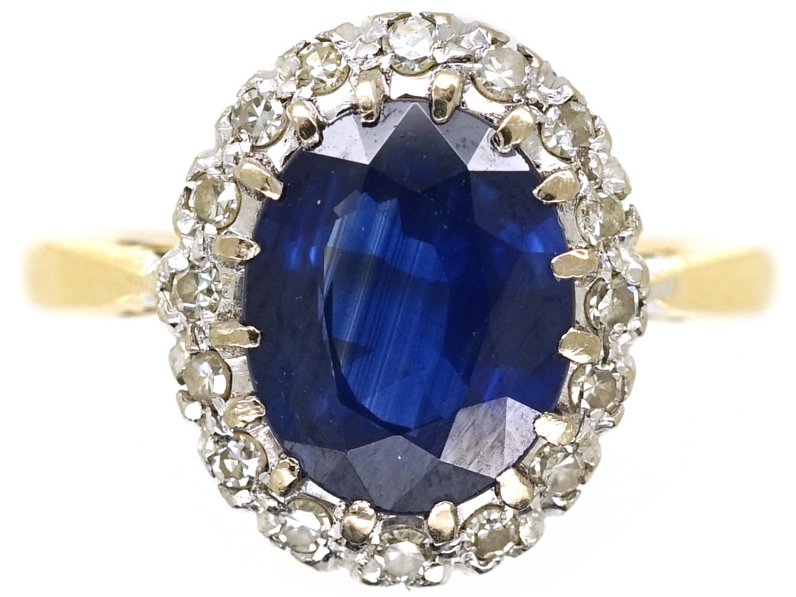 oval company shop jewellery sapphire ring antique diamond cluster the