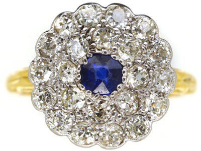 Edwardian Large Diamond & Sapphire Cluster Ring