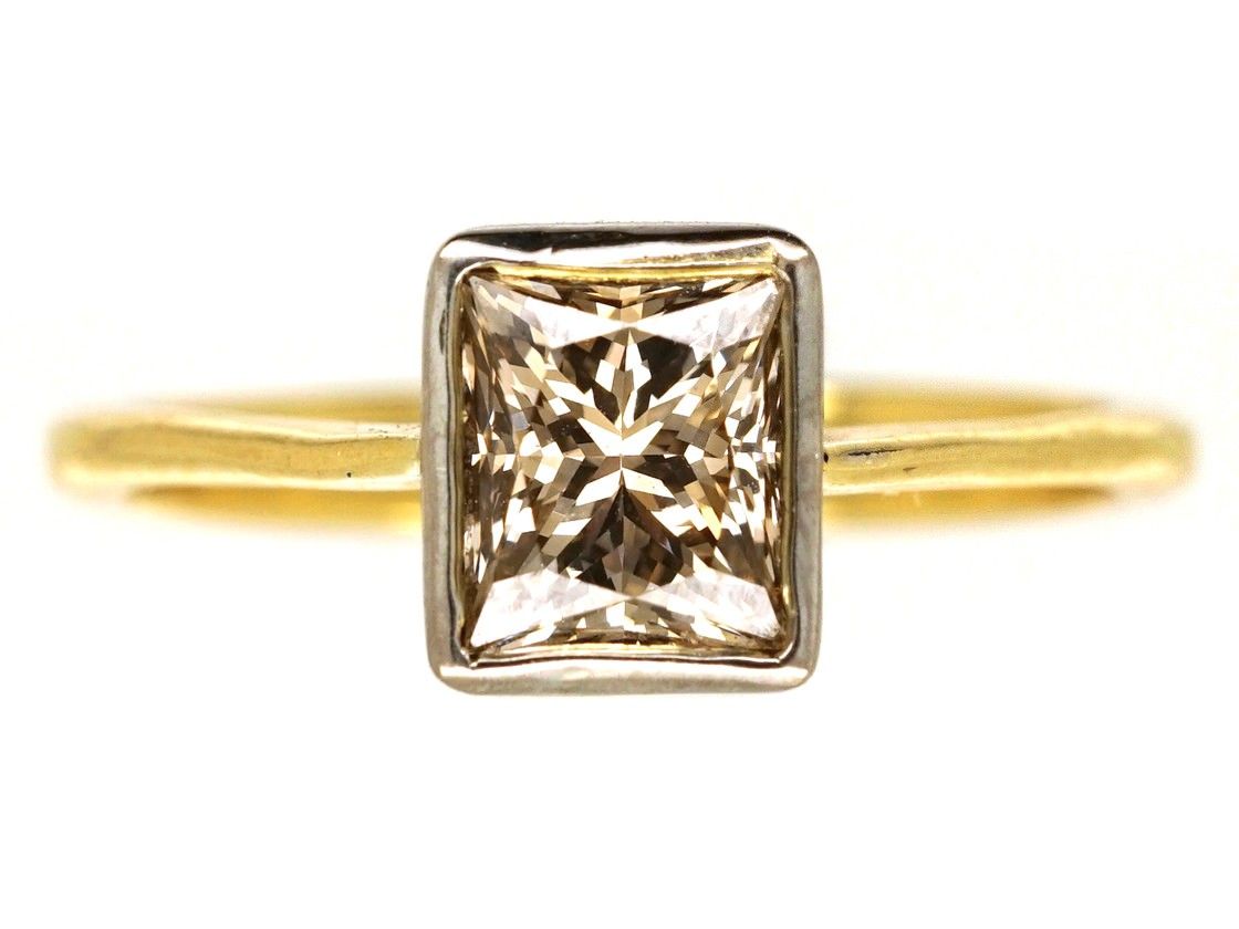 18ct Gold Rectangular Cognac Diamond Ring The Antique