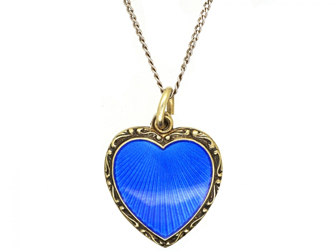 Silver Gilt Amp Blue Enamel Heart Pendant On Chain The