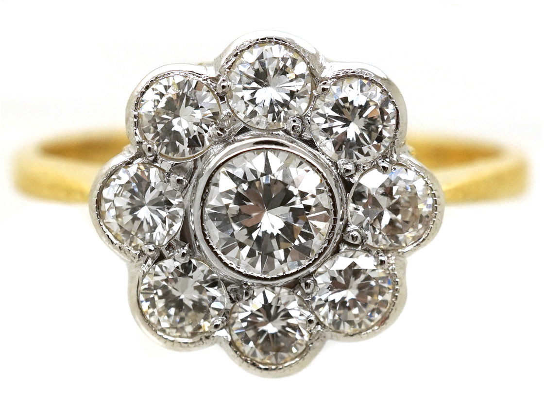 18ct Gold Amp Platinum Diamond Daisy Cluster Ring The