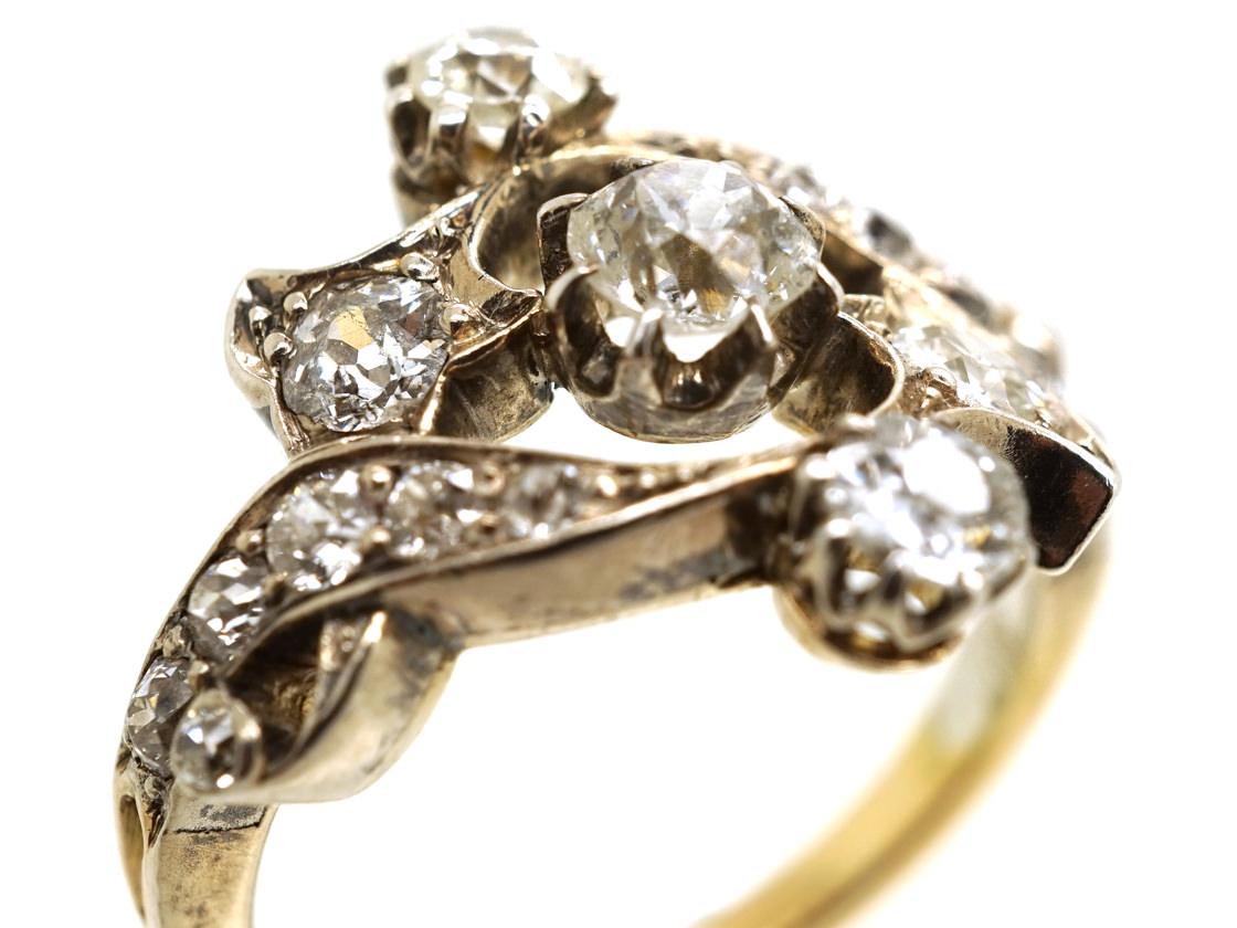 Victorian 18ct Gold Silver Amp Diamond Foliate Design Ring