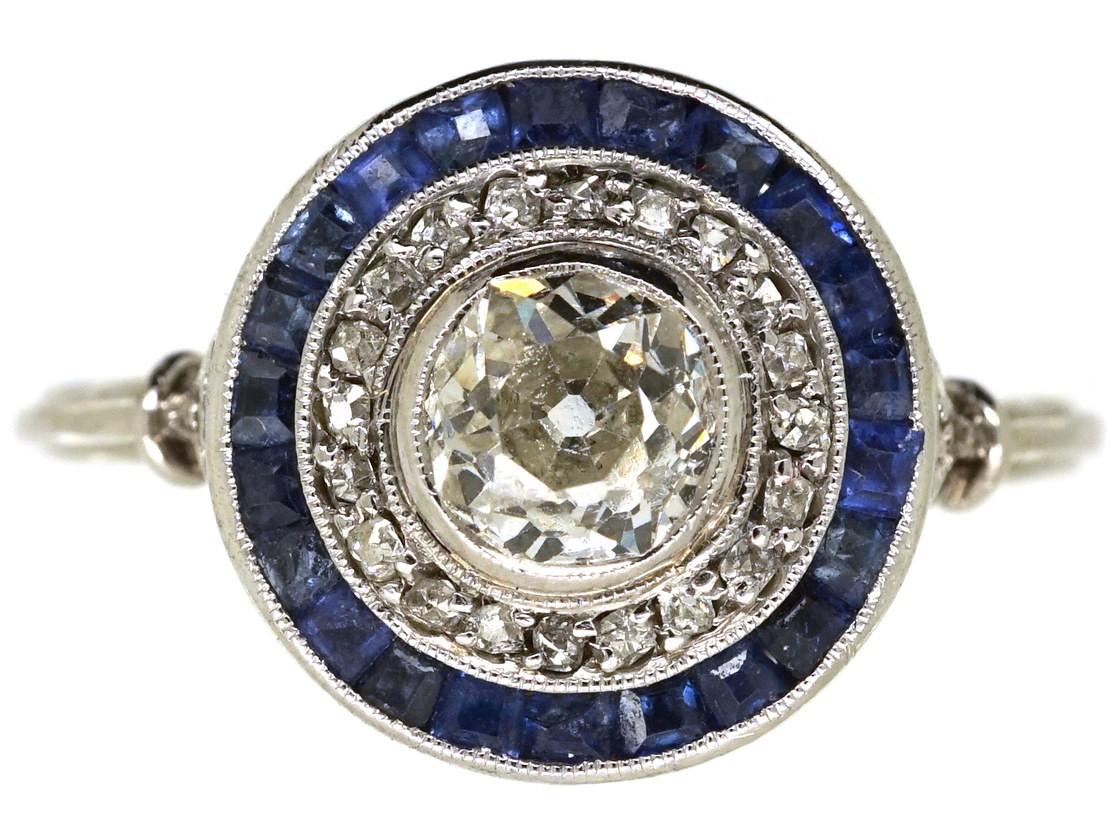 Art Deco Sapphire Amp Diamond Target Ring The Antique