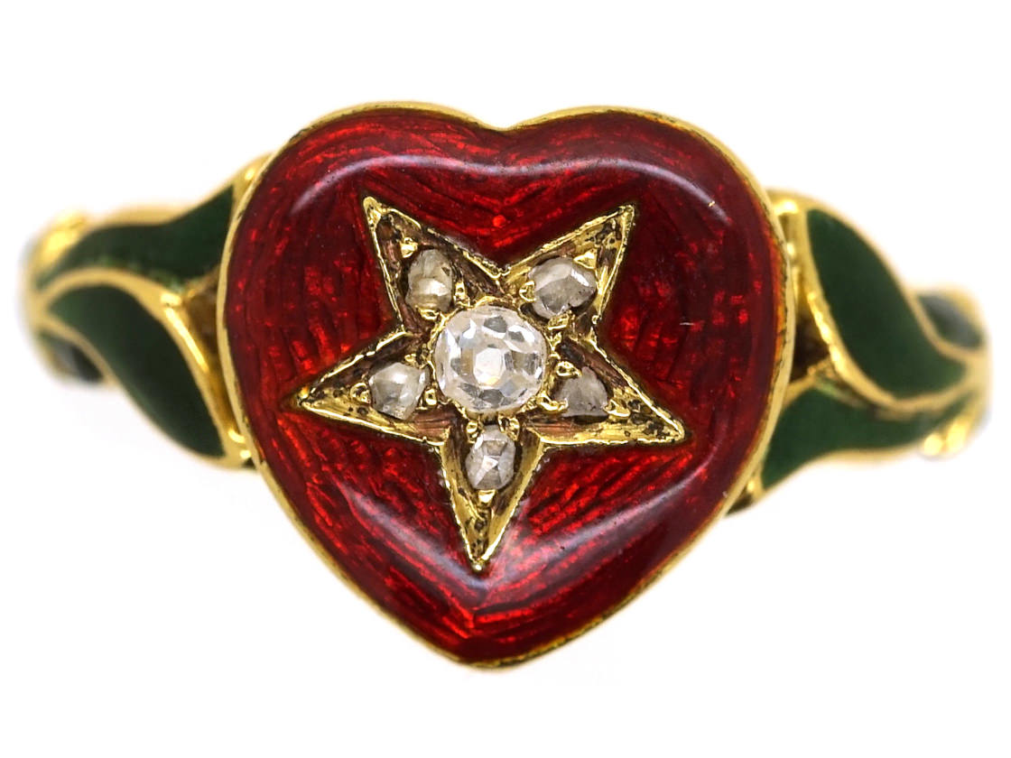 18ct gold red amp green enamel amp diamond heart shaped ring