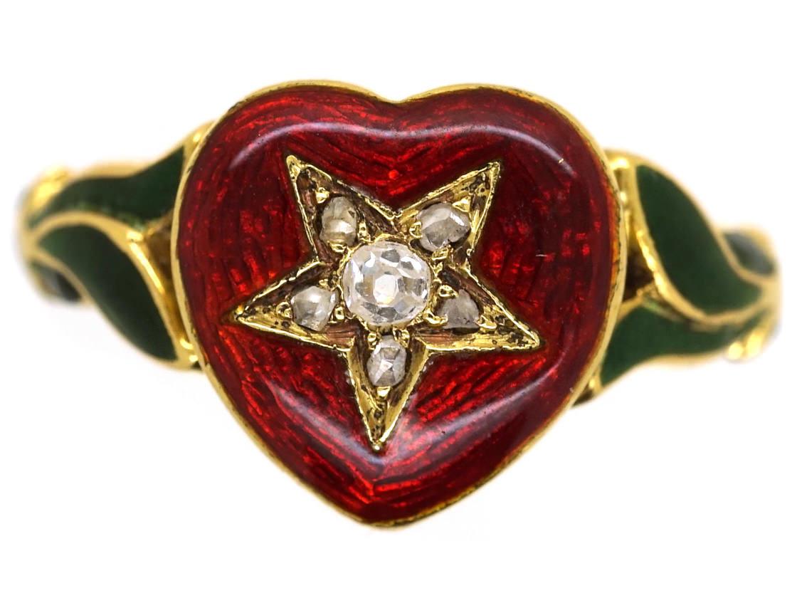 18ct Gold Red Amp Green Enamel Amp Diamond Heart Shaped Ring