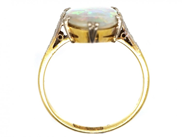 deco harlequin opal ring the antique