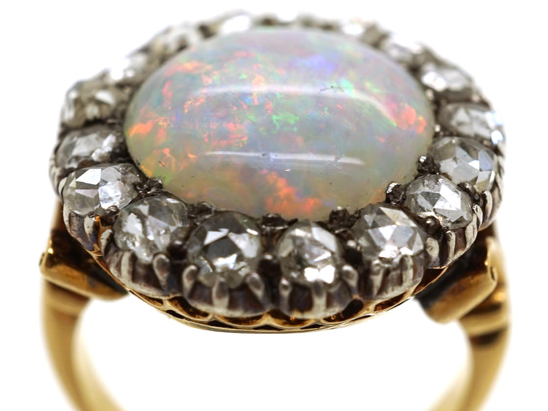 Edwardian 18ct Gold Large Opal Amp Rose Diamond Cluster