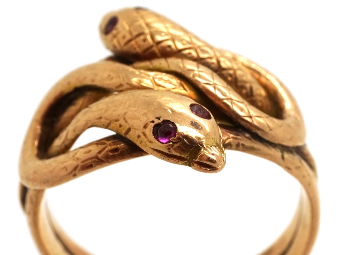 Victorian 15ct Gold Double Snake Ring With Ruby Eyes The