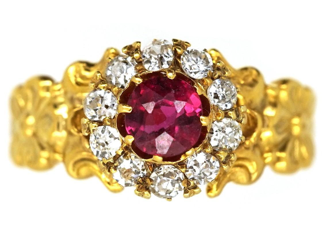 Art Nouveau 18ct Gold Ruby Diamond Cer Ring