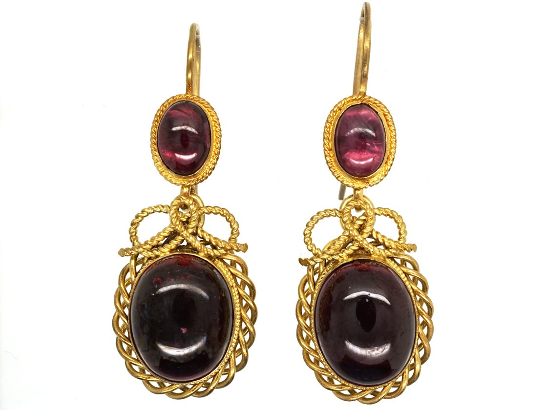 Victorian 15ct Gold Amp Cabochon Garnet Drop Earrings The