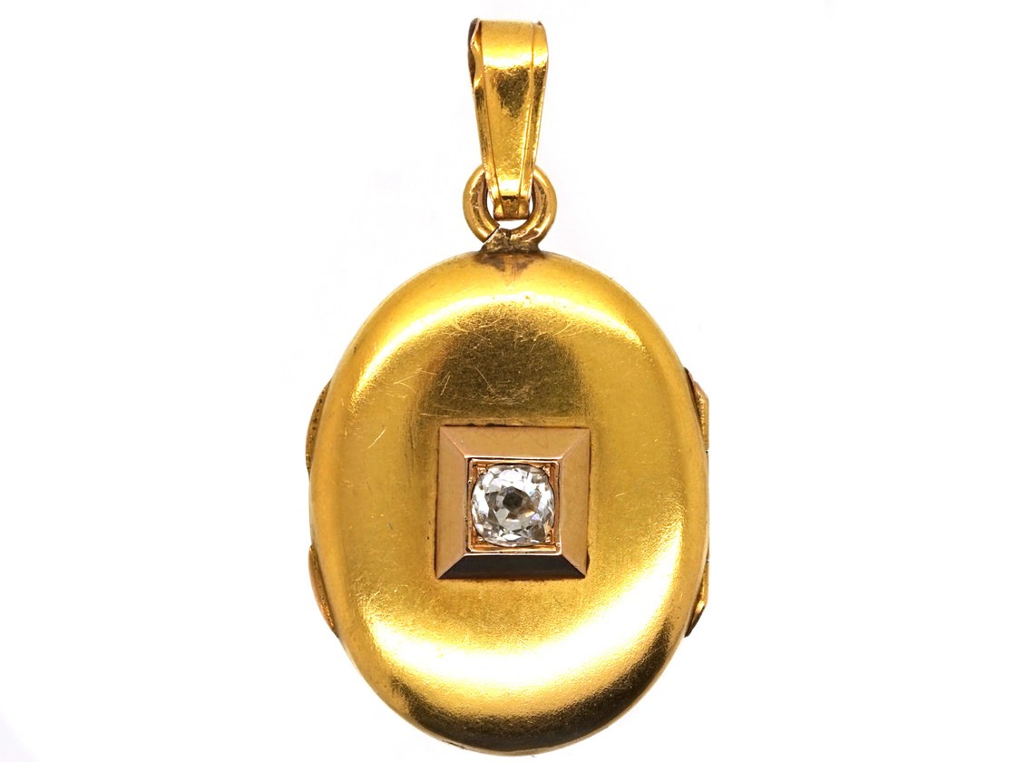 Victorian 18ct Gold Oval Locket Set With A Diamond The