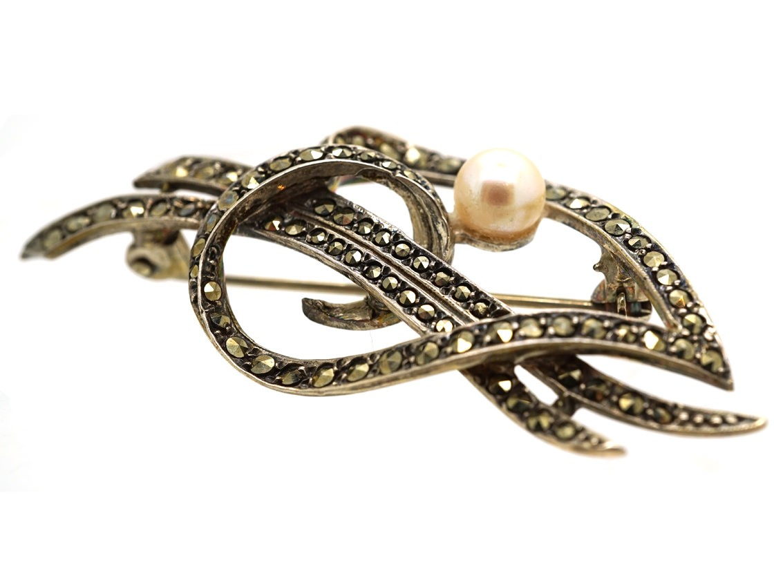 Silver Marcasite Amp Pearl Woven Heart Brooch The Antique