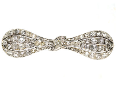 Edwardian Platinum & Diamond Bow Brooch