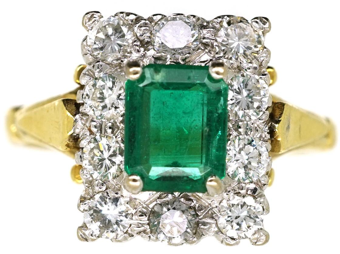 18ct gold emerald rectangular ring the
