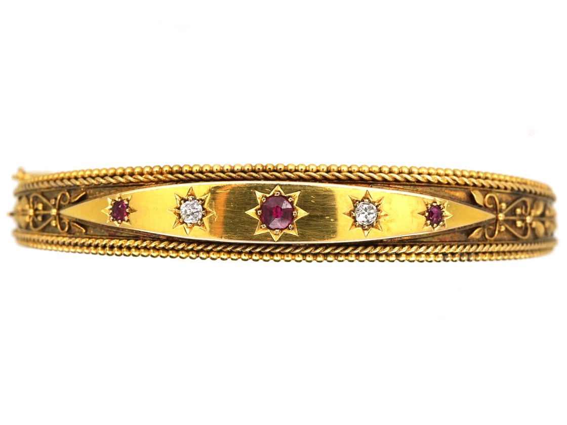 Victorian 15ct Gold Diamond Amp Ruby Bangle The Antique