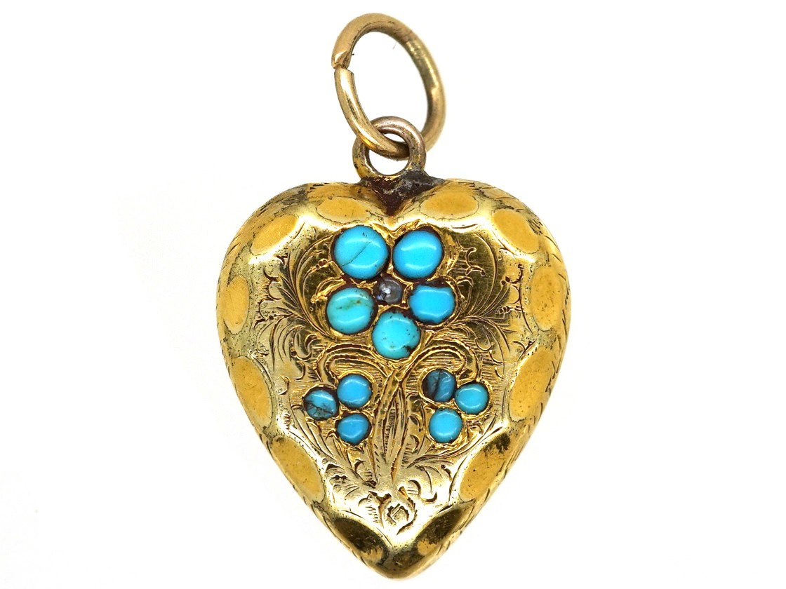 Late georgian 15ct gold turquoise heart shaped forget me not late georgian 15ct gold turquoise heart shaped forget me not pendant aloadofball Gallery