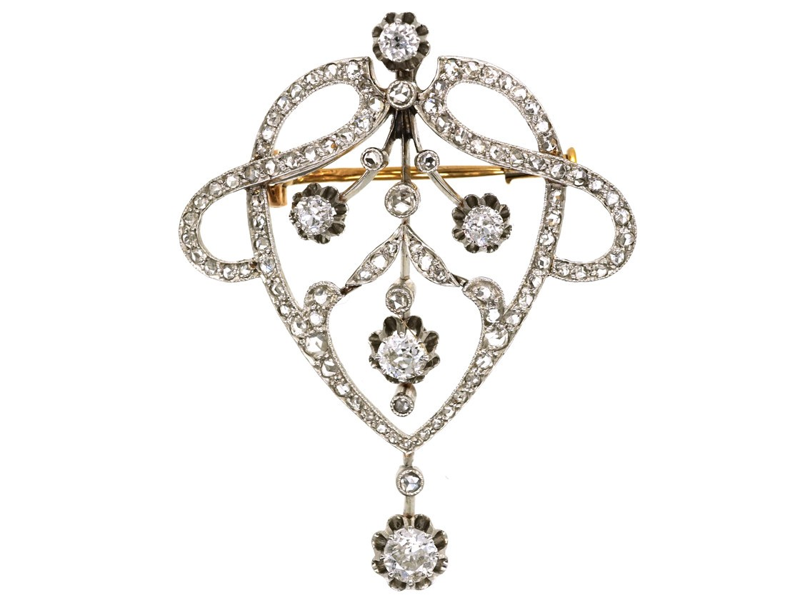 French Art Nouveau Platinum Amp Diamond Brooch The Antique