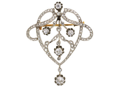 French Art Nouveau Platinum & Diamond Brooch