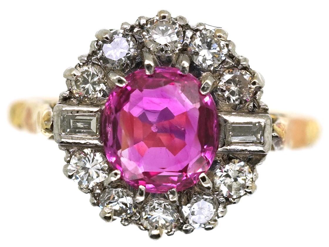 Art Deco Pink Sapphire & Diamond Ring - The Antique Jewellery Company