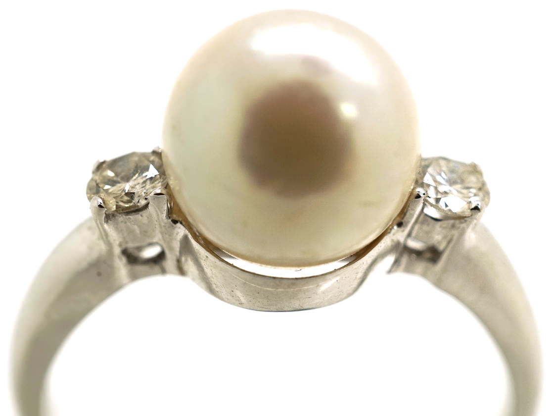 18ct white gold pearl diamond ring the antique. Black Bedroom Furniture Sets. Home Design Ideas
