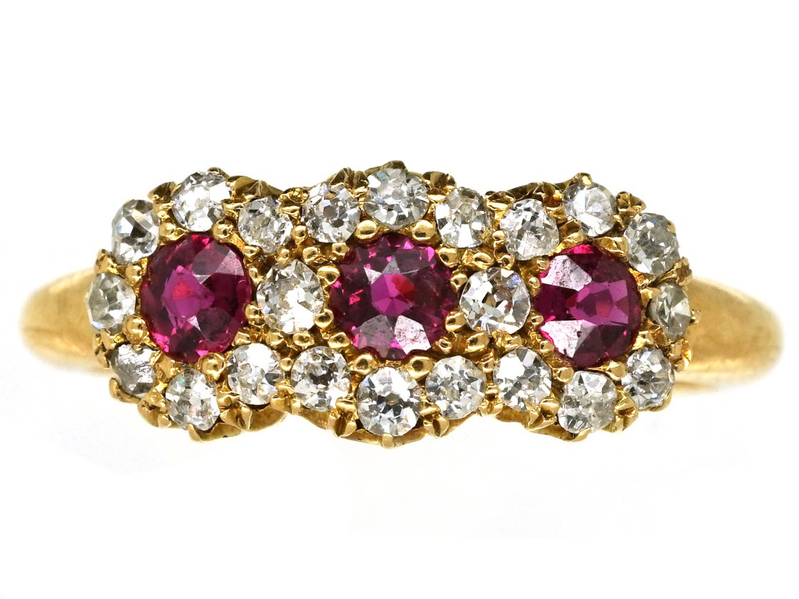 victorian 18ct gold ruby diamond triple cluster ring. Black Bedroom Furniture Sets. Home Design Ideas