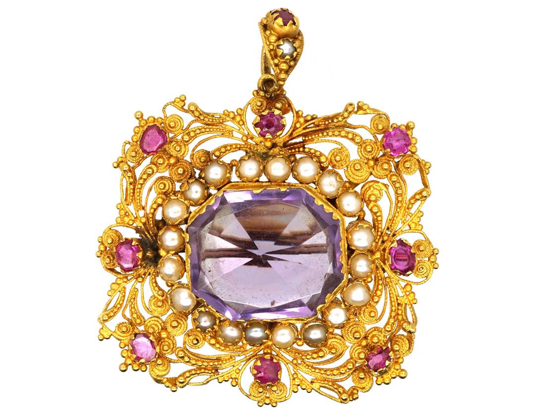 Regency 18ct Gold Ruby Natural Split Pearl Amp Amethyst