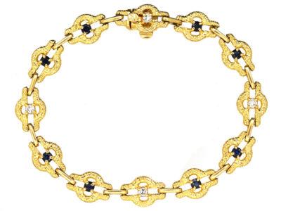 French 18ct Gold Sapphire & Diamond Bracelet