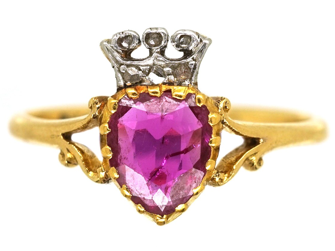 Edwardian 18ct Gold Ruby Amp Diamond Heart Ring The
