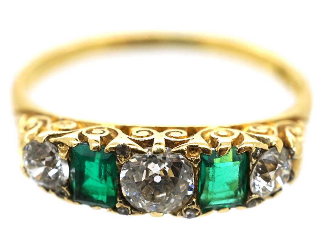 Victorian 18ct Gold Emerald Amp Diamond Carved Half Hoop
