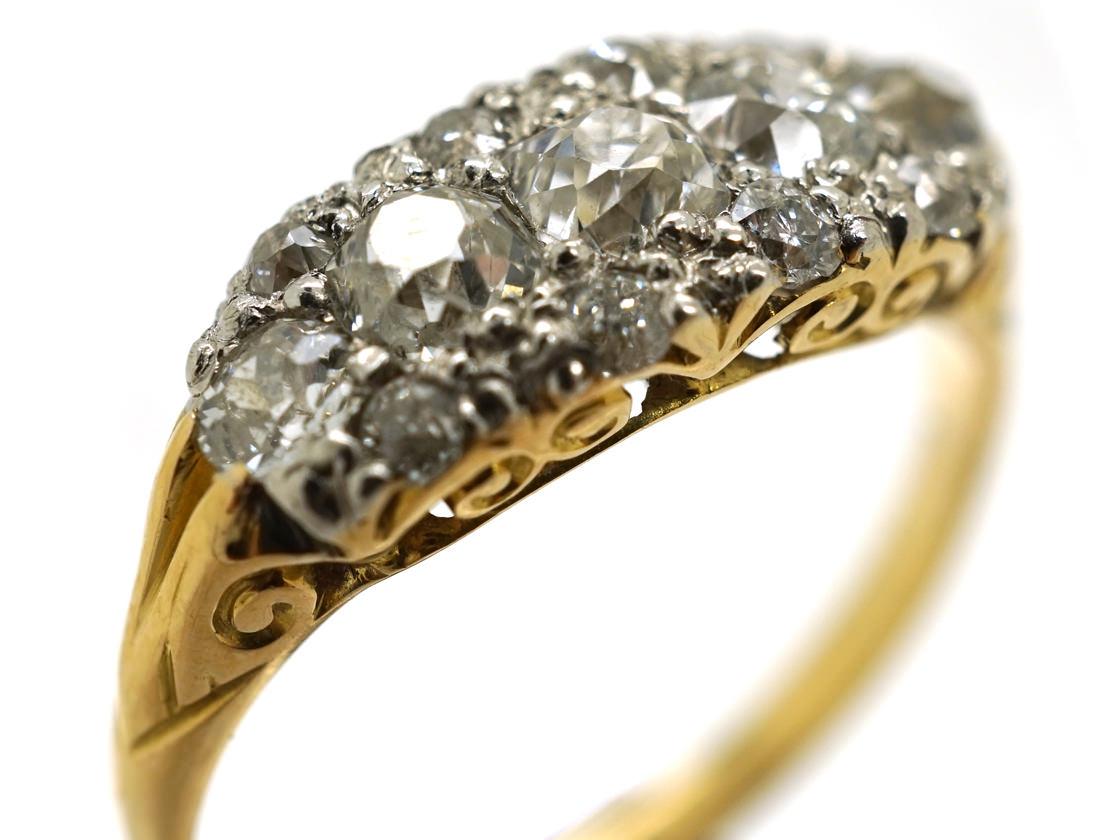 Edwardian 18ct Gold Amp Platinum Five Stone Diamond Cluster
