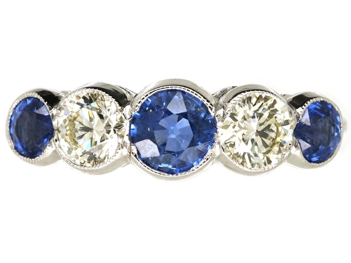 Art Deco 18ct White Gold Ceylon Sapphire Amp Diamond Five