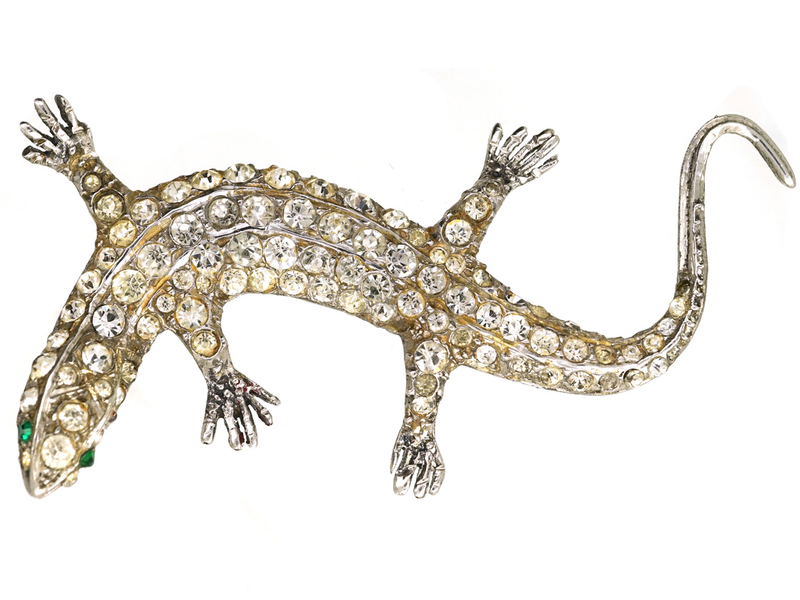 Art Deco Silver Amp Paste Lizard Brooch The Antique