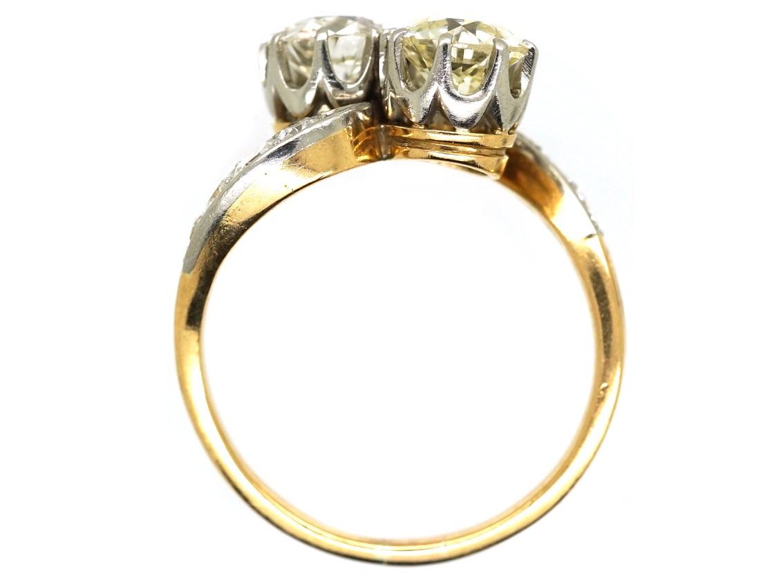 Edwardian 18ct Gold Amp Platinum Two Stone Diamond