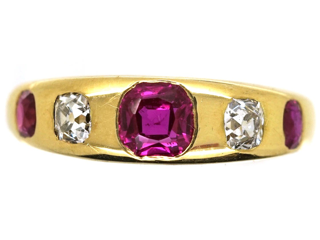Victorian 18ct Gold Ruby Amp Diamond Rub Over Ring The